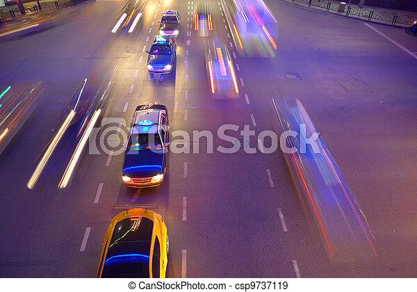 shanghai, verkeer, nacht - csp9737119
