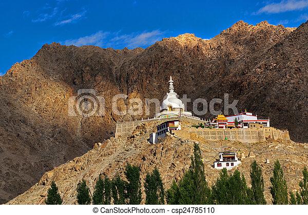 Shanti Stupa, Ladakh, Jammu and Kashmir, India - csp24785110