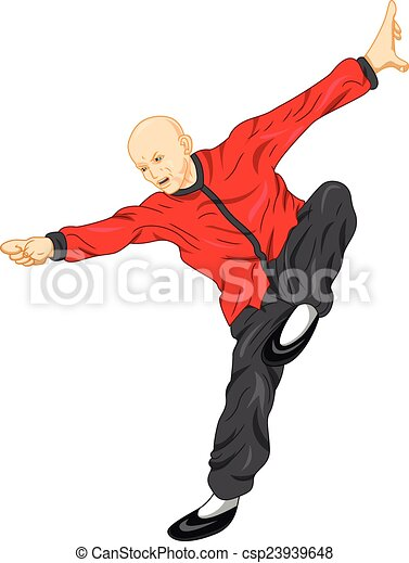 Bold Asian Shaolin Monk Kung Fu Martial Arts Fighter Fighting
