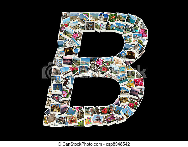 "Shape of ""B"" letter- photo collage  - csp8348542"