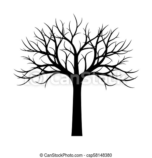 Shape Of Black Tree Without Leaves Vector Illustration Vector