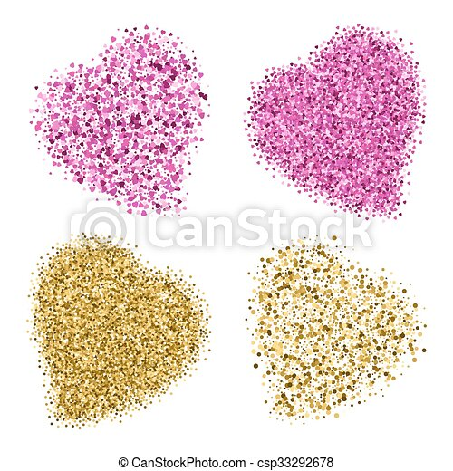 Shapes of four different hearts from golden and pink glitter - csp33292678