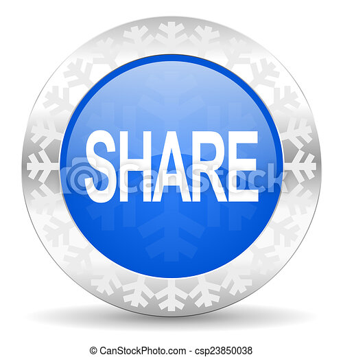 share blue icon, christmas button - csp23850038