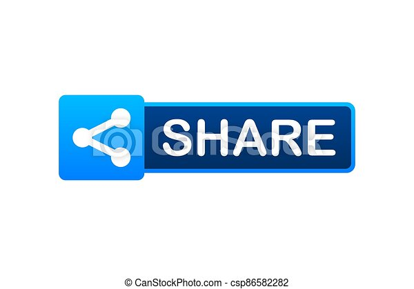 Share button in flat style on blue background. Social media. Vector stock illustration. - csp86582282