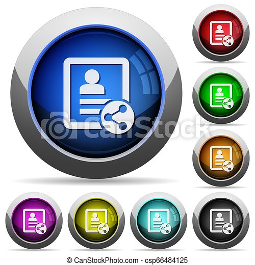 Share contact round glossy buttons - csp66484125