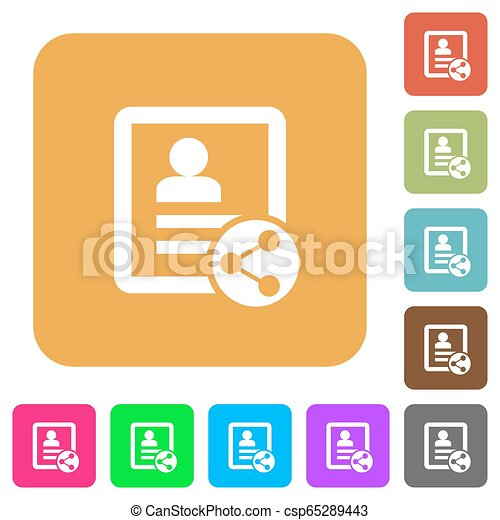 Share contact rounded square flat icons - csp65289443