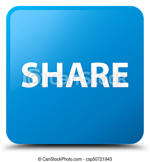 Share cyan blue square button - csp50721943