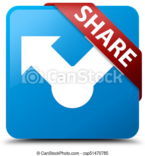 Share cyan blue square button red ribbon in corner - csp51470785