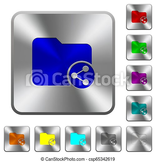 Share directory rounded square steel buttons - csp65342619