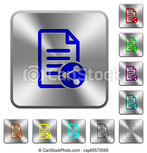 Share document rounded square steel buttons - csp65573599