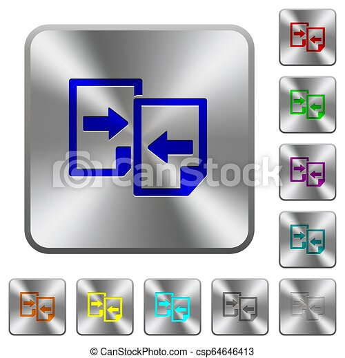 Share documents rounded square steel buttons - csp64646413
