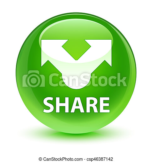 Share glassy green round button - csp46387142