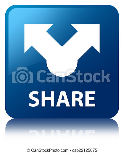Share glossy blue reflected square button - csp22125075