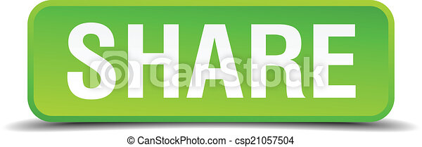 Share green 3d realistic square isolated button - csp21057504