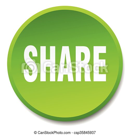 share green round flat isolated push button - csp35845937