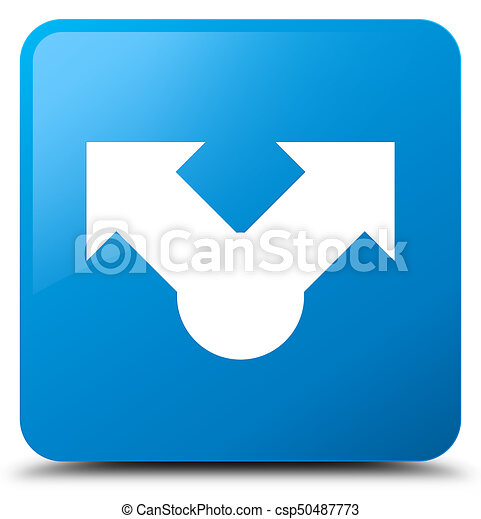 Share icon cyan blue square button - csp50487773