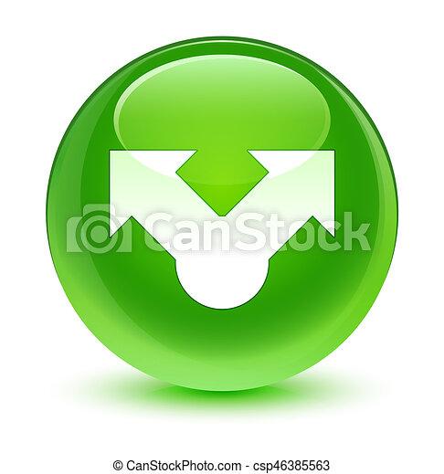 Share icon glassy green round button - csp46385563