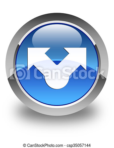 Share icon glossy blue round button - csp35057144