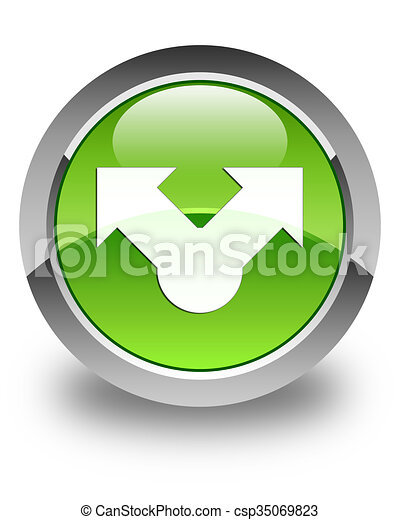 Share icon glossy green round button - csp35069823