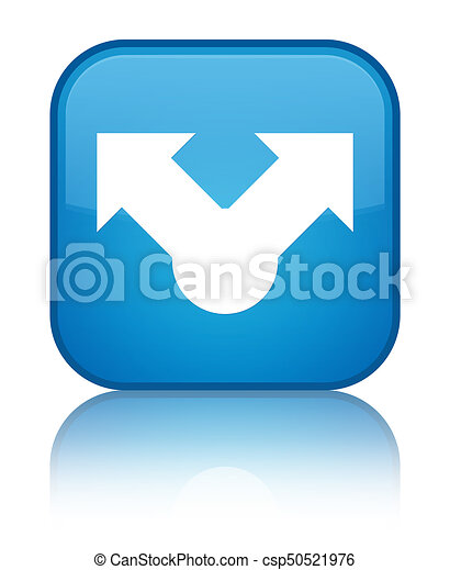 Share icon special cyan blue square button - csp50521976