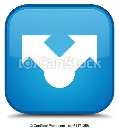 Share icon special cyan blue square button - csp51471358