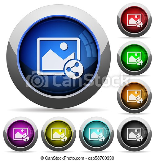 Share image round glossy buttons - csp58700330