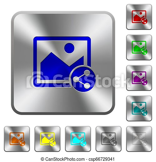 Share image rounded square steel buttons - csp66729341