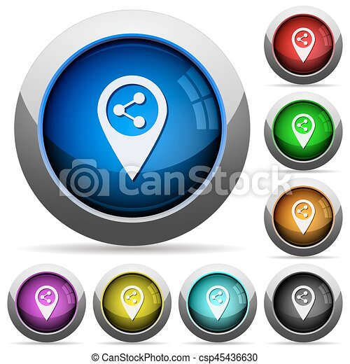 Share location round glossy buttons - csp45436630