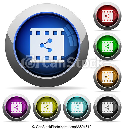 Share movie round glossy buttons - csp66801812