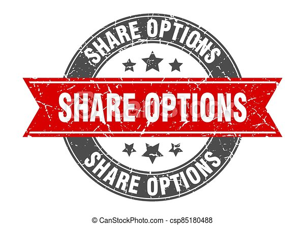 share options round stamp with ribbon. label sign - csp85180488