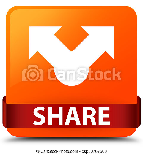 Share orange square button red ribbon in middle - csp50767560