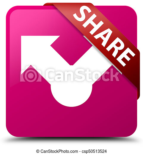 Share pink square button red ribbon in corner - csp50513524