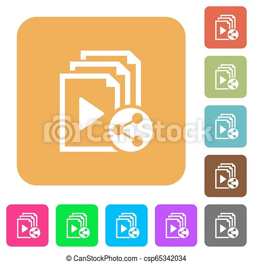 Share playlist rounded square flat icons - csp65342034