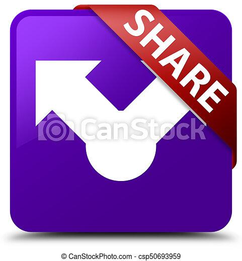 Share purple square button red ribbon in corner - csp50693959