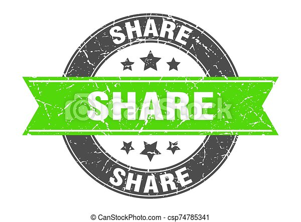share round stamp with green ribbon. share - csp74785341