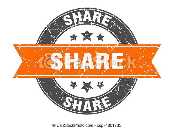 share round stamp with orange ribbon. share - csp74801735