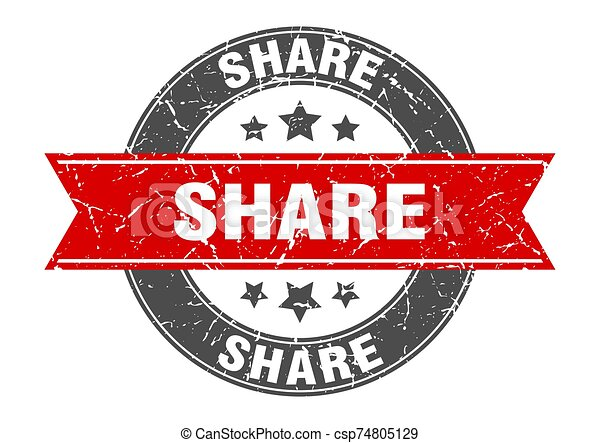 share round stamp with red ribbon. share - csp74805129