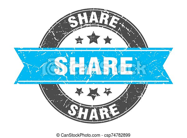 share round stamp with turquoise ribbon. share - csp74782899