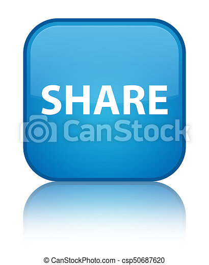 Share special cyan blue square button - csp50687620
