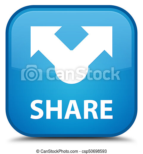 Share special cyan blue square button - csp50698593