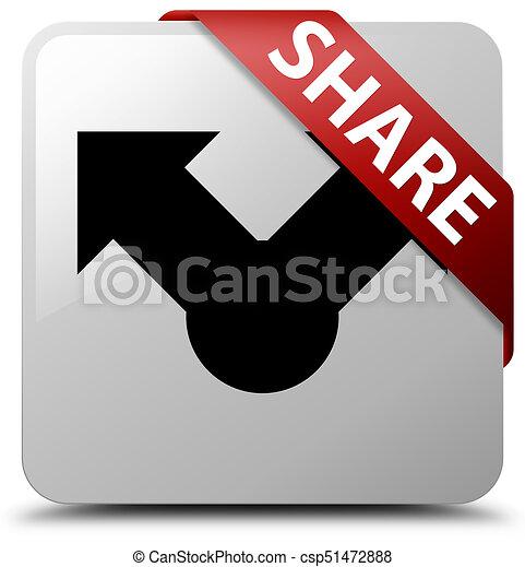 Share white square button red ribbon in corner - csp51472888