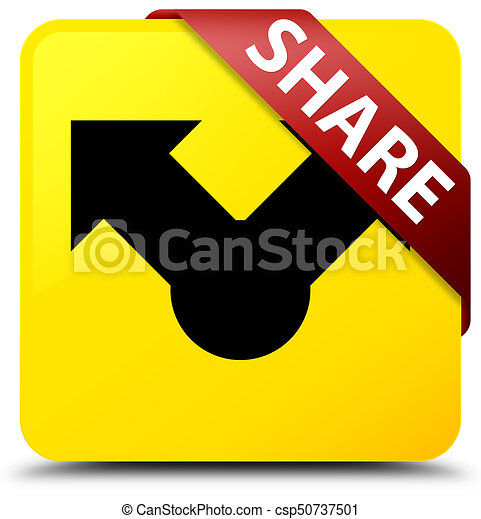 Share yellow square button red ribbon in corner - csp50737501