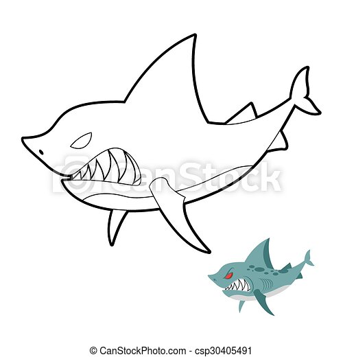 shark coloring book angryl underwater animal vector illustration csp30405491
