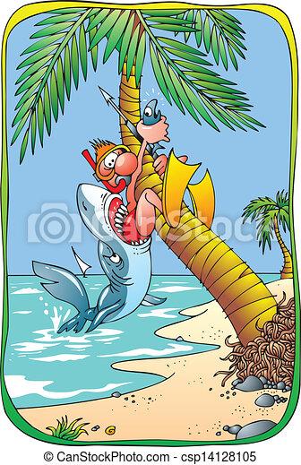 Shark Danger On The Beach Vector Clipart Csp on Open Mouth Clip Art