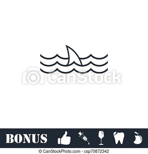 Shark fin icon flat - csp70872342