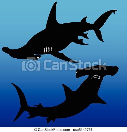 shark hammer vector silhouettes - csp5142751
