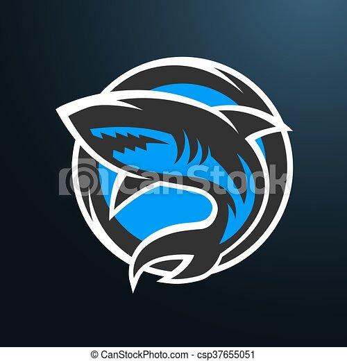 shark sport logo on a dark background shark sport logo emblem on a