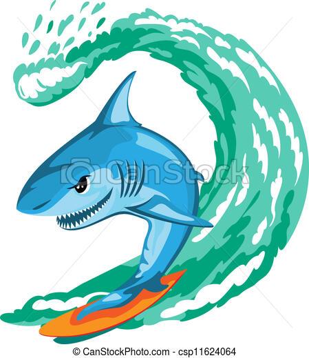 cartoon shark surfer on big wave isolated clip art vector search rh canstockphoto com Champion Clip Art Sufer Clip Art