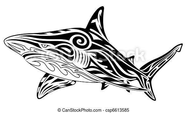 Shark, tribal tattoo - csp6613585