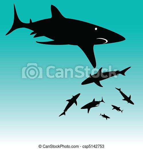 shark vector silhouettes - csp5142753